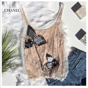 CHANEL EMBROIDERED OVERLAY TOP